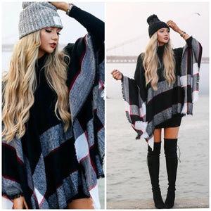 Sweaters - AUTUMN Softest Plaid Poncho - BLACK